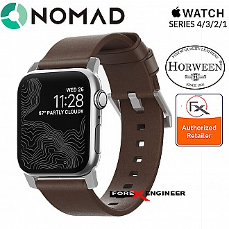 Nomad Modern Leather Strap Apple Watch Series SE / 6 / 5 / 4 / 3 / 2 / 1 - 42mm / 44mm - Silver Hardware