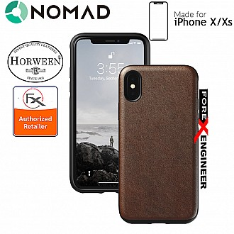 Nomad Rugged Case for iPhone X / Xs - 6 feet Drop Protection Genuine Horween Leather from USA - Rustic Brown