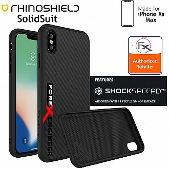 RhinoShield SolidSuit for iPhone Xs MAX - SHOCKSPREAD Tech 3.5 Meters Impact Protection - Carbon Fiber Finish