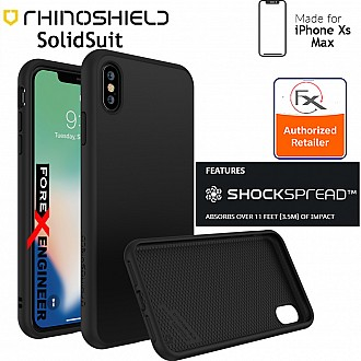 RhinoShield SolidSuit for iPhone Xs MAX - SHOCKSPREAD Tech 3.5 Meters Impact Protection - Classic Black