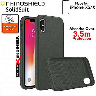 Rhinoshield SolidSuit for iPhone XS (Compatible with iPhone X) - 3.5 Meters Drop Protection - Microfiber / Graphite color (Barcode: 4710227231717)