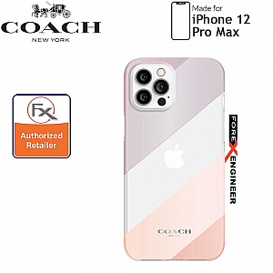 "Coach Protective Case for iPhone 12 Pro Max 5G 6.7"" -  Diagonal Stripe Metallic Clear (Barcode : 191058121615 )"