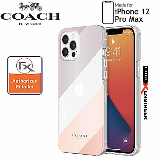 """Coach Protective Case for iPhone 12 Pro Max 5G 6.7"""" -  Diagonal Stripe Metallic Clear (Barcode : 191058121615 )"""