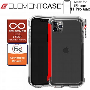 Element Case Rail for iPhone 11 Pro Max  (Clear/Solid Red)