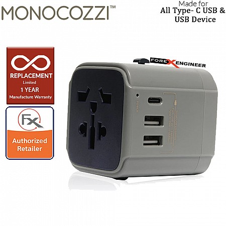 Monocozzi Bon Voyage Travel Adaptor with 4.5A Dual USB and USB-C Connector Charcoal color
