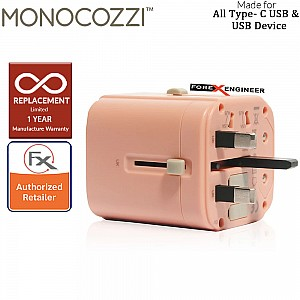 Monocozzi Bon Voyage Travel Adaptor with 4.5A Dual USB and USB-C Connector Coral color