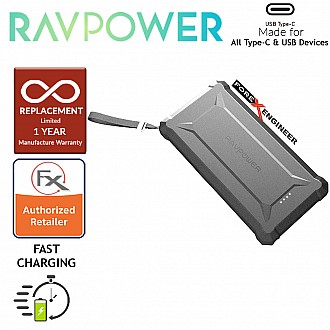RAVPower RP-PB097 Waterproof Power Bank 20100mAh with 45WPD + QC3.0 and Built-in flashlight - Black