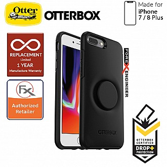 OTTER + POP Symmetry for iPhone 7 Plus / 8 Plus - Slim Protective Case with Pop Sockets - Black