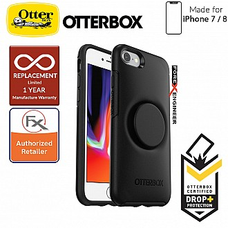 OTTER + POP Symmetry for iPhone 7 / 8 - Slim Protective Case with Pop Sockets - Black