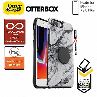 OTTER + POP Symmetry for iPhone 7 Plus / 8 Plus - Slim Protective Case with Pop Sockets - White Marble