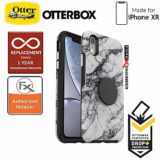 OTTER + POP Symmetry for iPhone XR - Slim Protective Case with PopSockets -  White Marble