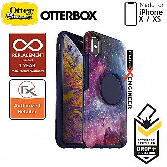 OTTER + POP Symmetry for iPhone X / Xs - Slim Protective Case with Pop Sockets - Blue Nebula