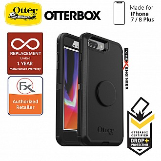 OTTER + POP Defender for iPhone 7 Plus / 8 Plus - Rugged Protective Case with PopSockets - Black