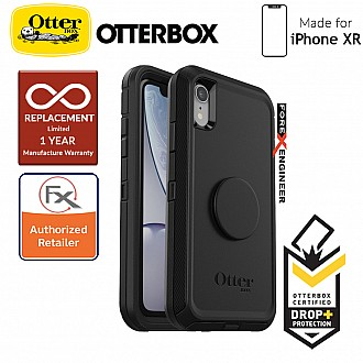 OTTER + POP Defender for iPhone XR - Rugged Protective Case with PopSockets - Black
