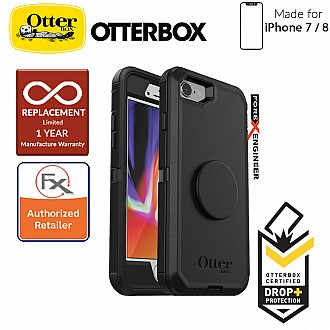 OTTER + POP Defender for iPhone 7 / 8 - Rugged Protective Case with PopSockets - Black