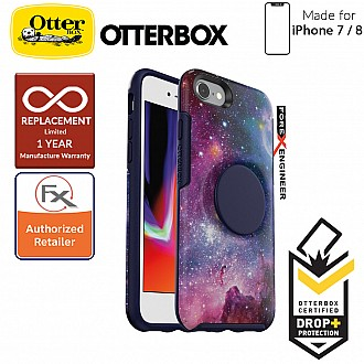 OTTER + POP Symmetry for iPhone 7 / 8 - Slim Protective Case with Pop Sockets - Blue Nebula