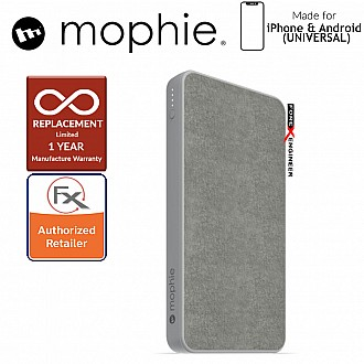 Mophie Powerstation 10,000mAh Power Bank for Smartphones, Tablets & USB Devices (Fabric Design) - Gray