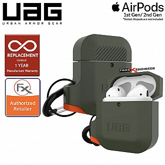 UAG AirPods Gen 1 & Gen 2 Silicone Case - Olive Drab / Orange Color