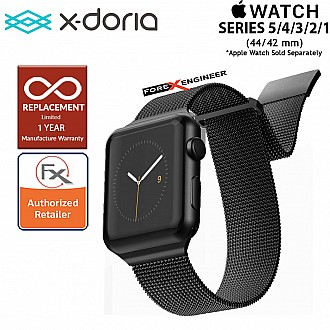 X-Doria Mesh Hybrid Band for Apple Watch Series SE / 6 /  5 / 4 / 3 / 2 / 1 ( 44mm / 42mm ) - Black Color