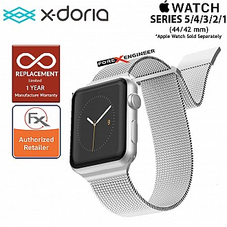 X-Doria Mesh Hybrid Band for Apple Watch Series SE / 6 /  5 / 4 / 3 / 2 / 1 ( 44mm / 42mm ) - Silver Color