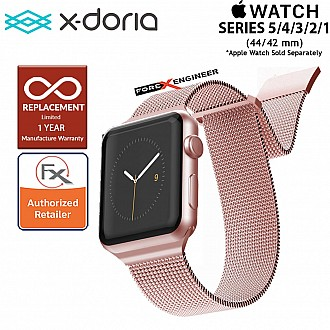 X-Doria Mesh Hybrid Band for Apple Watch Series SE / 6 / 5 / 4 / 3 / 2 / 1 ( 44mm / 42mm ) - Rose Gold Color