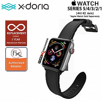 X-Doria Leather Hybrid Band for Apple Watch Series SE/ 6 / 5 / 4 / 3 / 2 / 1 ( 44mm / 42mm ) - Black Color