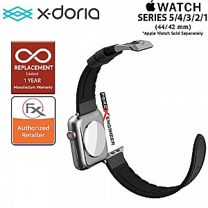 X-Doria Leather Hybrid Band for Apple Watch Series 5 / 4 / 3 / 2 / 1 ( 44mm / 42mm ) - Black Color