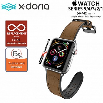 X-Doria Leather Hybrid Band for Apple Watch Series SE / 6 /  5 / 4 / 3 / 2 / 1 ( 44mm / 42mm ) - Brown Color