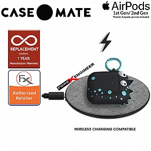 Case Mate CreaturePods for Airpods Series 1 & 2 - Spike Harmless Case with Teal Blue Carabiner Clip ( Barcode : 846127187022 )