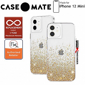 """Case Mate Twinkle Ombré for iPhone 12 Mini 5G 5.4"""" - Gold with MicroPel (Barcode: 846127198035)"""