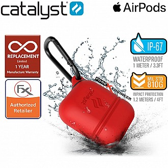 Catalyst Waterproof Case for Airpods - 1 meters deep with 1.2 meters drop protection - Flame Red Color