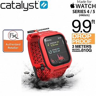 Catalyst Impact Protection Case V2 with Sport Band + Buckle for Apple Watch 44mm Series SE / 6 / 4 / 5 - Flame Red Color