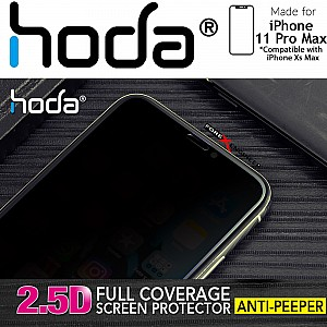 Hoda Tempered Glass for iPhone 11 Pro Max ( Compatible with Xs Max) - 2.5D 0.33mm Full Coverage Anti-Peeper Screen Protector (Black)_[RACK CLEARANCE]