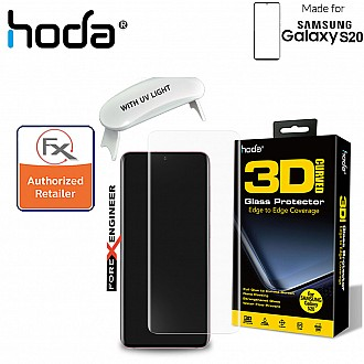 Hoda Tempered Glass for Samsung Galaxy S20 - 3D UV FULL GLUE 9H Screen Protector ( UV Lamp included ) ( Clear ) ( Barcode: 4713381516218+4713381516256 )
