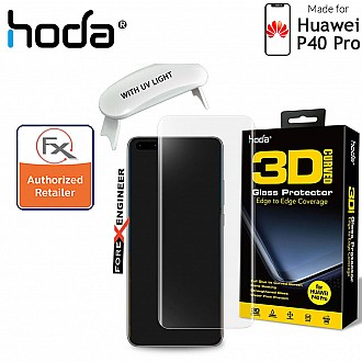 Hoda Tempered Glass for Huawei P40 PRO - 3D UV FULL GLUE 9H Screen Protector ( UV Lamp included ) - Clear Color ( Barcode: 4713381516256+4713381516355 )