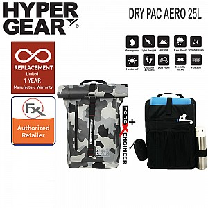Hypergear Dry Pac  Aero 25L - Heavy-duty Design and IPX6 Waterproof Specification - Camo Grey Alpha Color ( Bundle with Fast Slot E) ( Barcode : 302113+306051 )