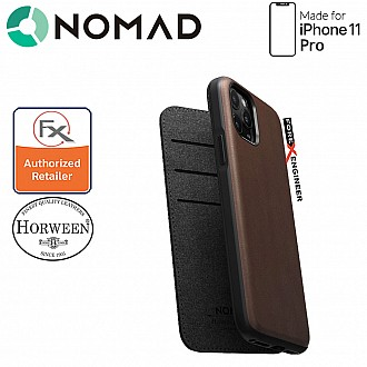 Nomad Rugged Folio Leather Case for iPhone 11 Pro - Rustic Brown Color