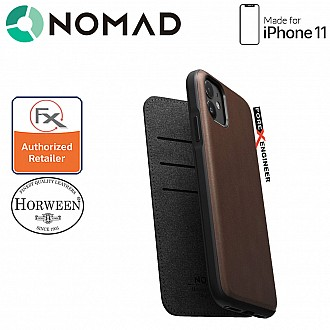 Nomad Rugged Folio Leather Case for iPhone 11 - Rustic Brown Color
