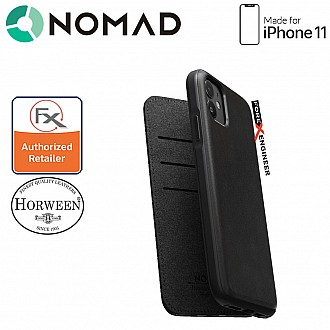 Nomad Rugged Folio Leather Case for iPhone 11 - Black Color