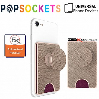 PopSockets PopWallet+ / PopWallet Plus PREMIUM - hold up to 3 credit cards or 6 business cards -  Saffiano Rose Gold Color ( Barcode : 842978158105 )