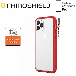 Rhinoshield MOD NX for iPhone 11 Pro with Rim, Button, Frame, Clear Back Plate - Red