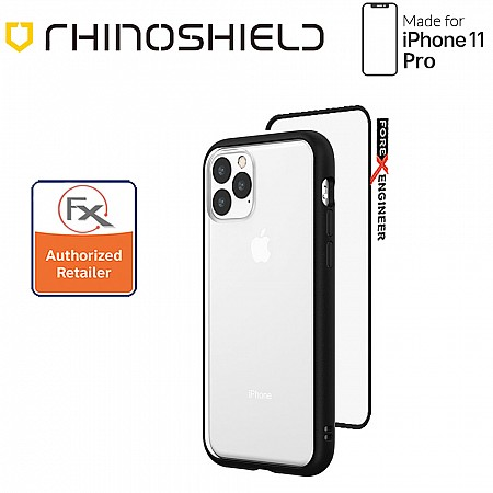 Rhinoshield MOD NX for iPhone 11 Pro with Rim, Button, Frame, Clear Back Plate - Black