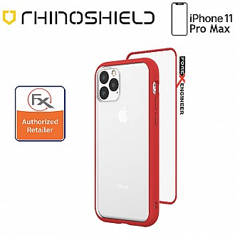 Rhinoshield MOD NX for iPhone 11 Pro Max with Rim, Button, Frame, Clear Back Plate - Red