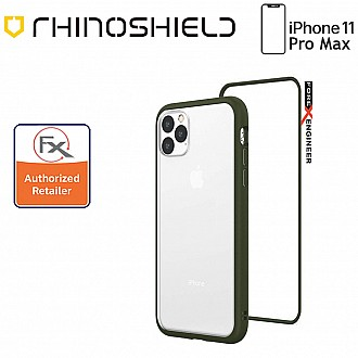 Rhinoshield MOD NX for iPhone 11 Pro Max with Rim, Button, Frame, Clear Back Plate - Camo Green Color