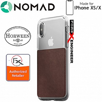Nomad Clear Case for iPhone Xs / X - Genuine Horween Leather from USA with 6 feet Drop Protection - Clear & Rustic Brown