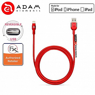 Adam Elements Peak Reversible USB Lightning Connector (120cm) - Red (CLEARANCE - NO WARRANTY)