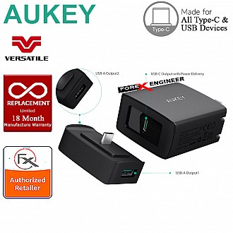 Aukey 29W USB-C Power Delivery Duo - USB C wall charger + dual USB adapter ( 2 + 1 ) EU Plug (PA-Y7)