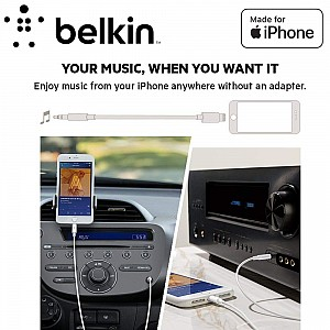 Belkin 3.5mm Audio Cable With Lightning Connector - MFi-Certified Lightning to Aux Cable for iPhone - Black