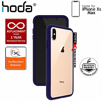 Hoda Crystal Case for iPhone Xs Max - Military Standard Protection - Dark Blue Side