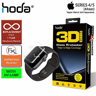 Hoda Screen Protector for Apple Watch Series SE / 6 / 5 / 4 ( 44mm ) - 3D Full UV Glue Tempered Glass Edition ( Light INCLUDED)